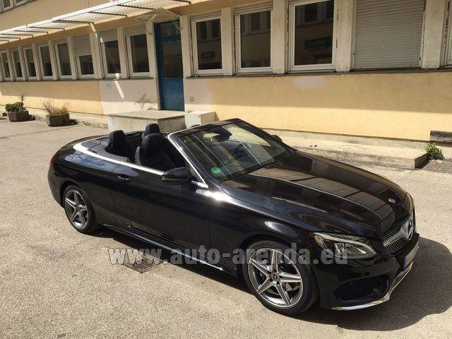 Rental Mercedes-Benz C 180 Cabrio AMG Equipment Black in Menton