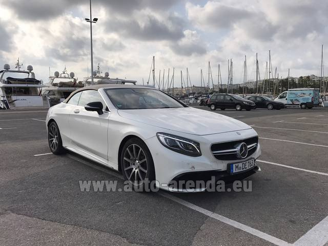 Rental Mercedes-Benz S 63 Cabrio AMG in Menton